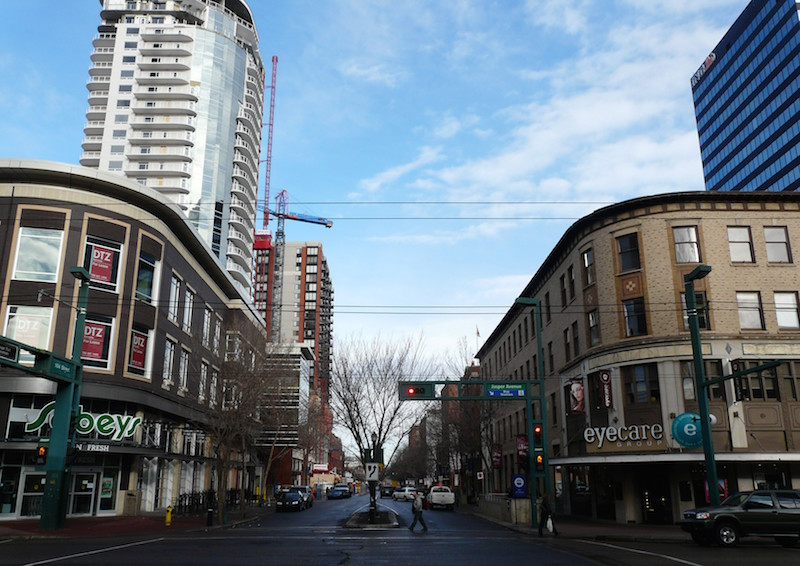 (Looking north from Jasper Avenue along 104 Street, prior to Sobeys closing. Photo: devinewines.ca)