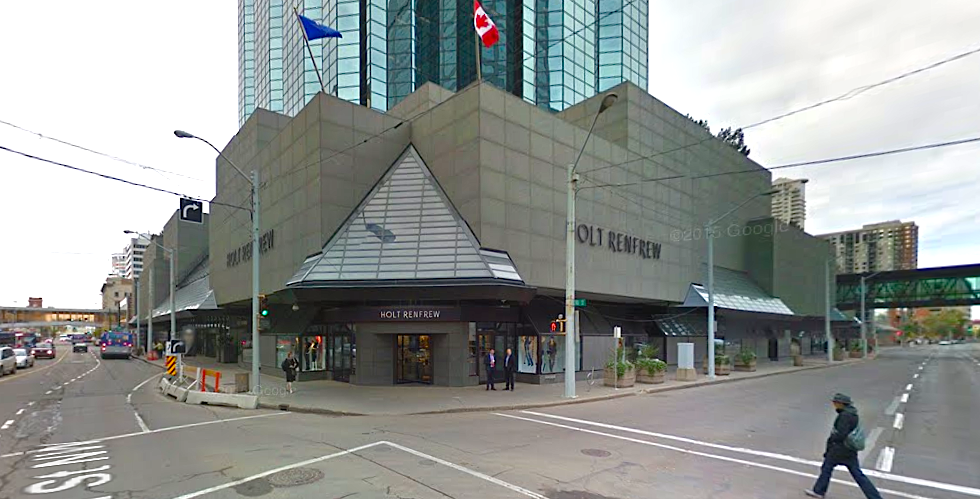 (Manulife Place retail podium, anchored by a ~35,000 square foot Holt Renfrew. Photo: Google Street View screen capture)