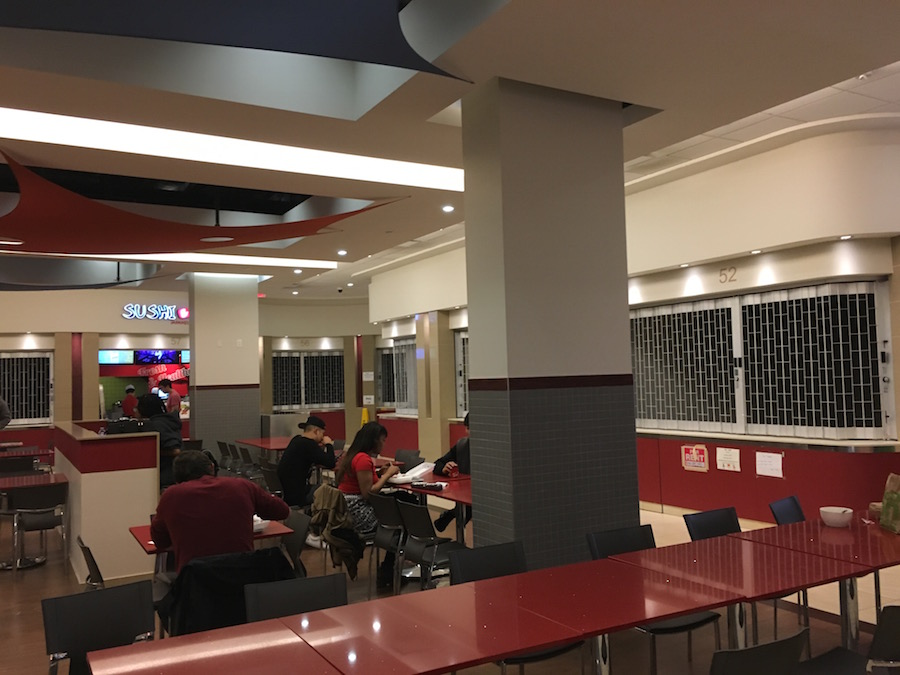 (Food court, empty of tenants. There's no free wi-fi for patrons, either)