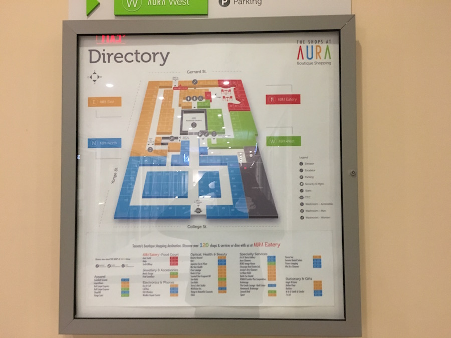 (Wayfinding directory on a wall in the centre)