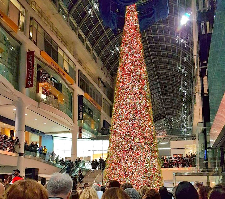 (Massive 'Holiday Tree', unveiled at CF Toronto Eaton Centre on Nov. 24. Photo: Cadillac Fairview)