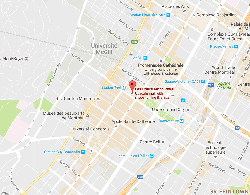 (Click above for interactive Montreal mall map, via Google)
