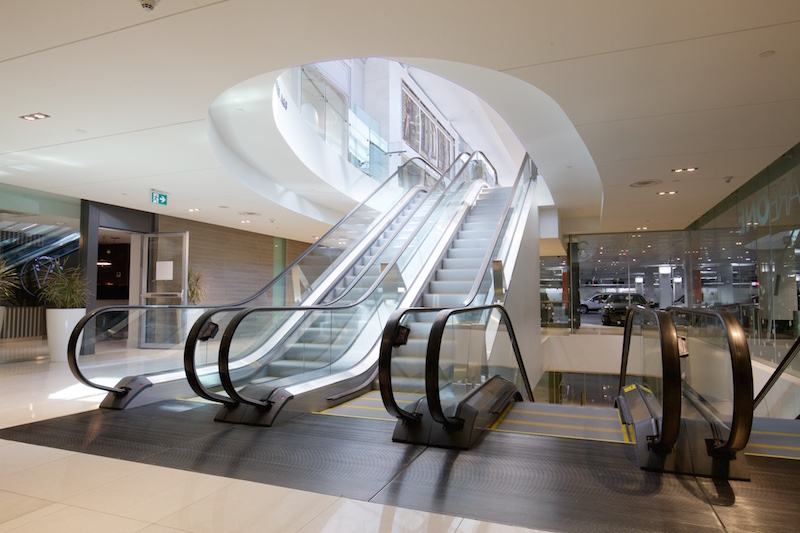 (Escalators leading from south parkade to mall)