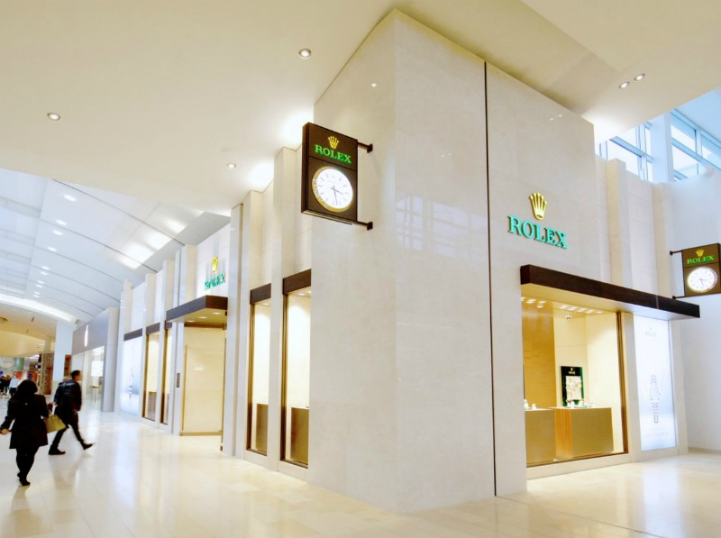 (Rolex opened in the mall's 'luxury wing' last week)
