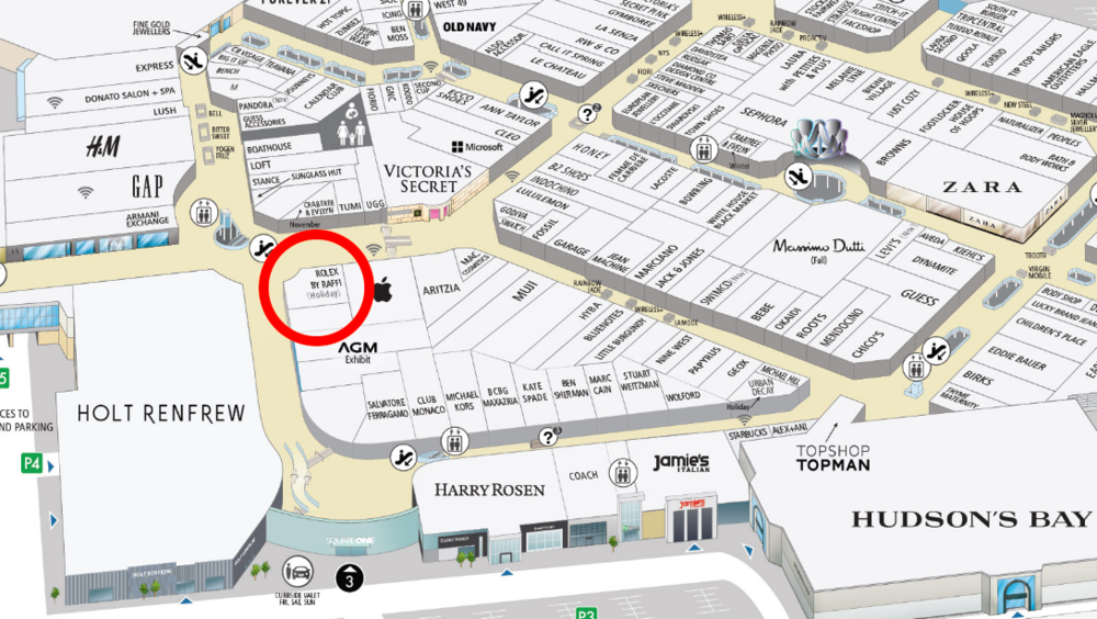 (Click above for interactive Square One mall map, via Oxford Properties)