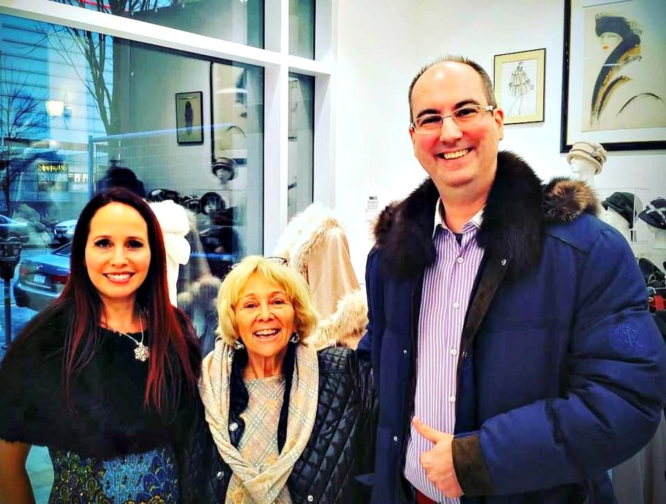 (At the boutique opening on December 11. Left to right: Miel Bernstein, Rokie Bernstein, and Manuel Bernaschek, the franchisee opening Stefano Ricci next door)