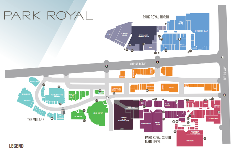 (Saks OFF 5TH will be located in 'Park Royal North'. Click image above for PDF Park Royal mall floor plan)