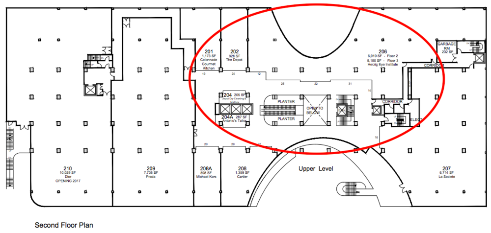 (William Ashley will occupy about 14,000 square feet of The Colonnade's second level, including current common area and retail spaces including the Herzig Eye Institute. Red oval is for demonstration only, and is not an accurate indication of the full space that William Ashley will occupy. Click above for PDF lease plan)