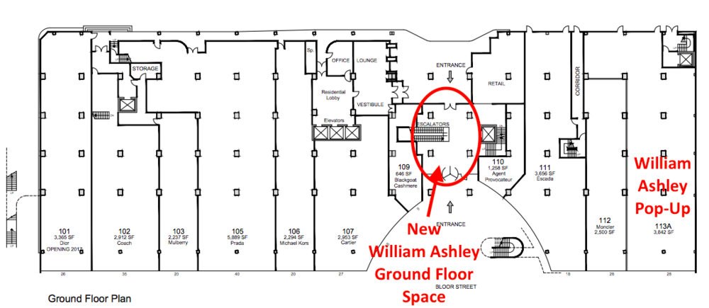 (William Ashley will occupy about 1,000 square feet on the ground level of The Colonnade, in space currently utilized as common-area. Teuscher of Switzerland chocolates will also have space here. Click above for PDF lease plan)