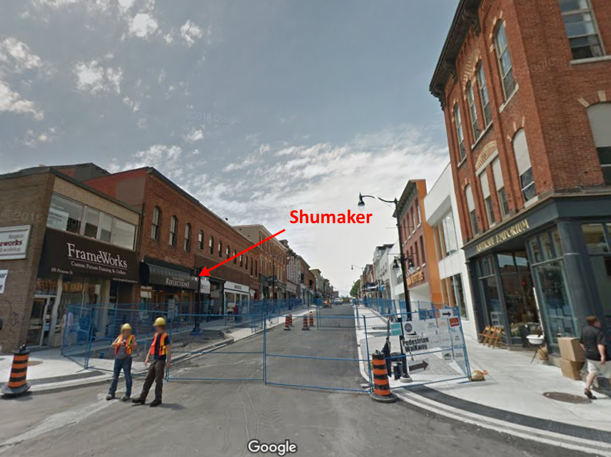 (Shumaker will open a two-level, 3,000 square foot store this spring in historic downtown Kingston, Ontario. Google Image is from June of 2016, when the area's sidewalks and streets were being revitalized. Click image for Google Street View experience)