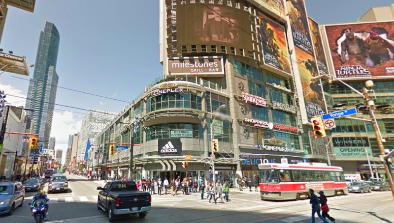 (adidas' toronto flagship, at the iconic northeast corner of Yonge and dundas streets. photo: google street view)