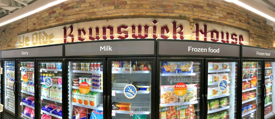 (the iconic 'ye olde brunswick house' sign  is now located in the store's food area)