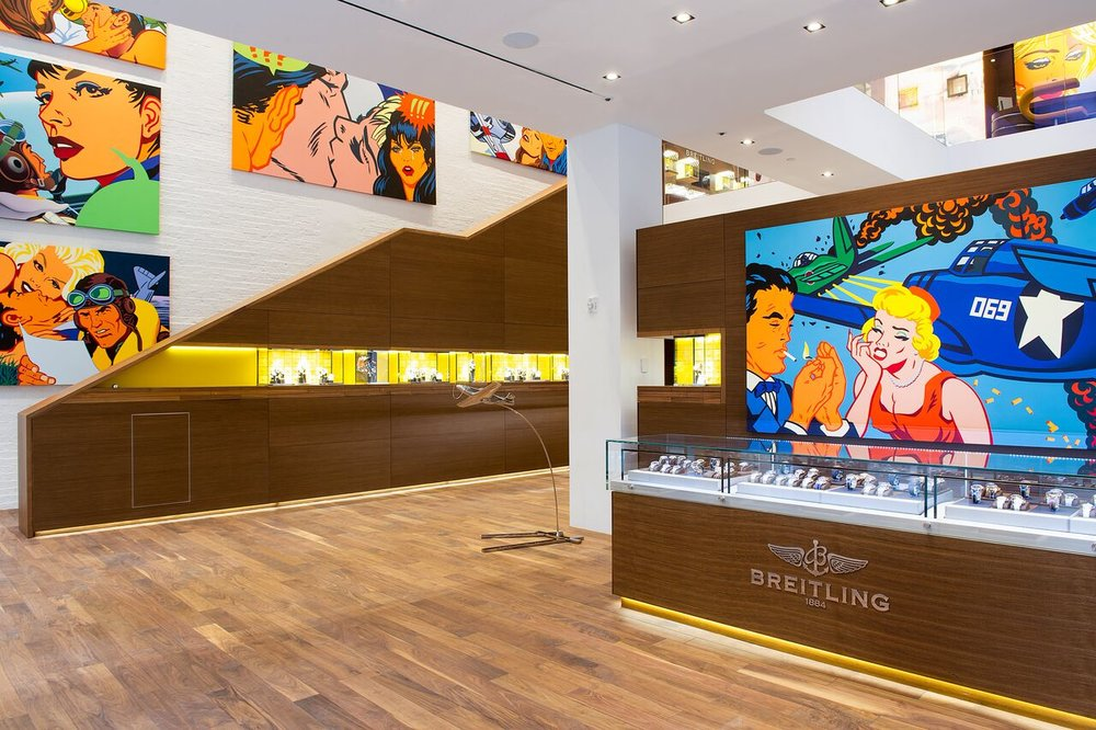 (Kevin T. Kelly artwork at breitling in manhattan. photo Courtesy of Breitling SA, www.breitling.com