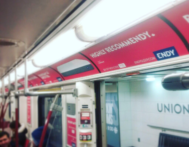 (Endy advertising on ttc subway car in toronto: photo: endy via twitter)