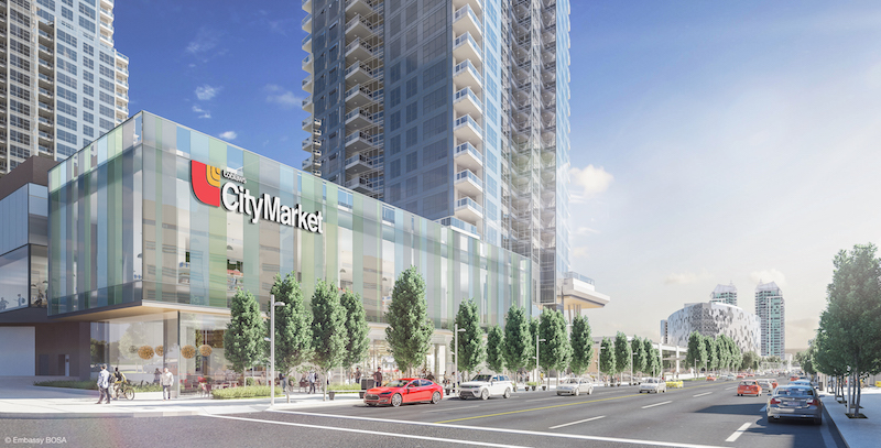 (calgary: riocan/embassy bosa 'east village' project will feature over 500 suites, with substantial retail at its base. Photo: Riocan)