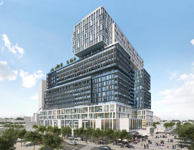 (toronto: great gulf/hullmark propose substantial retail (including a major grocery store) at the base of the 'home' project near the distillery district)