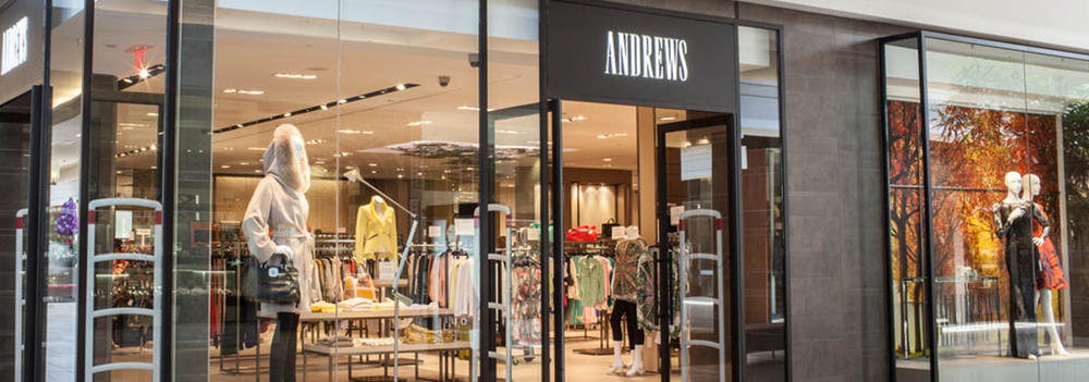 (upscale toronto-based women's multi-brand retailer andrews has a 5,540 square foot store at bayview village)