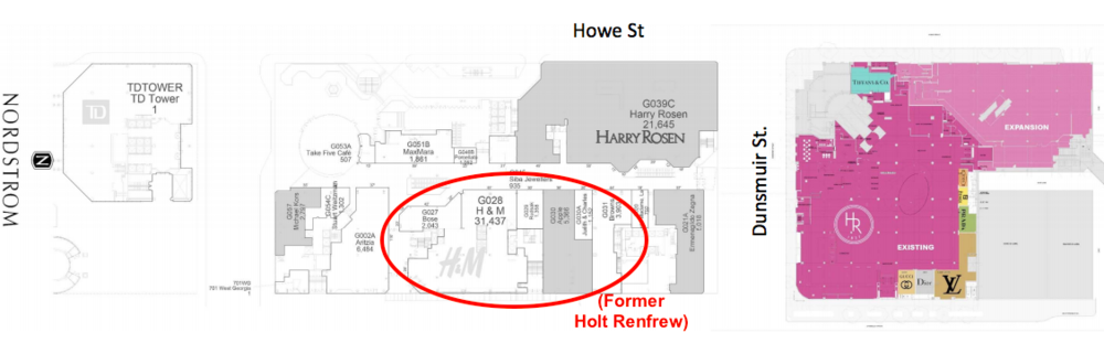 (holt renfrew expansion at cf pacific centre, as well as former location. floor plan:  dkstudio )
