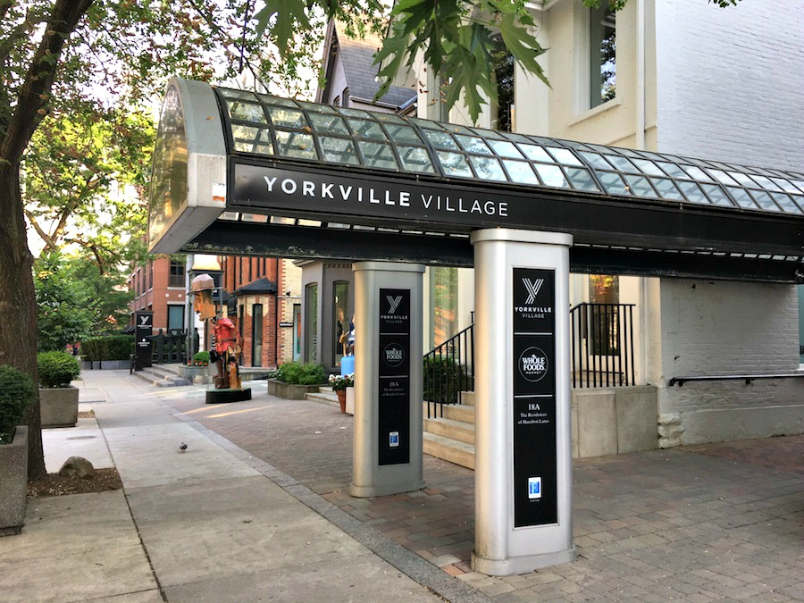 (hazelton avenue entrance to yorkville village. hazelton avenue is a lovely mixed-use street with attractive homes and commercial buildings, not to mention art galleries as viewed in the distance)