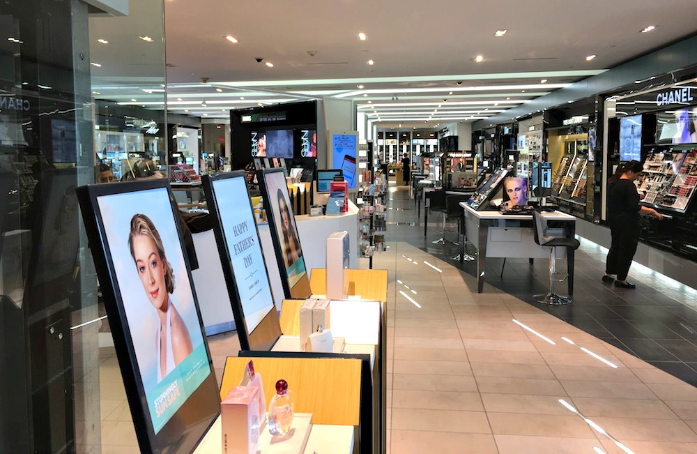 (2-level shoppers drug mart. the mall level features an assortment of upscale cosmetics, and the lower level features shoppers drug mart's more typical offerings)