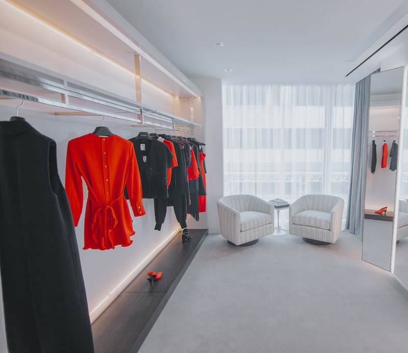 (one of the private shopping suites, featuring curated fashions for a client. photo: holt Renfrew)