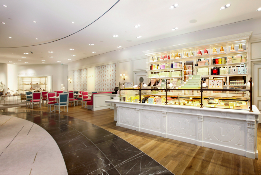 (the 500 square foot vancouver holt renfrew ladurée concession is located at the edge of the store's women's footwear salon)