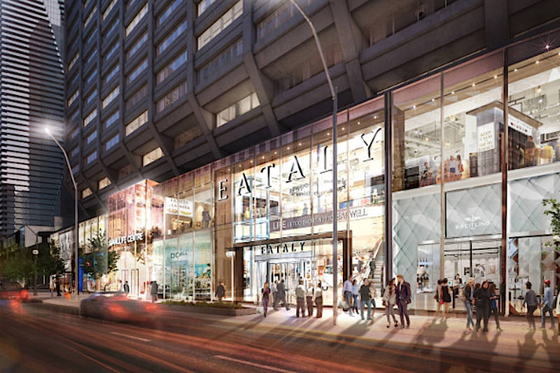 ('grocerant' eataly will open a 3-level location at the manulife centre in early 2019. rendering: manulife)