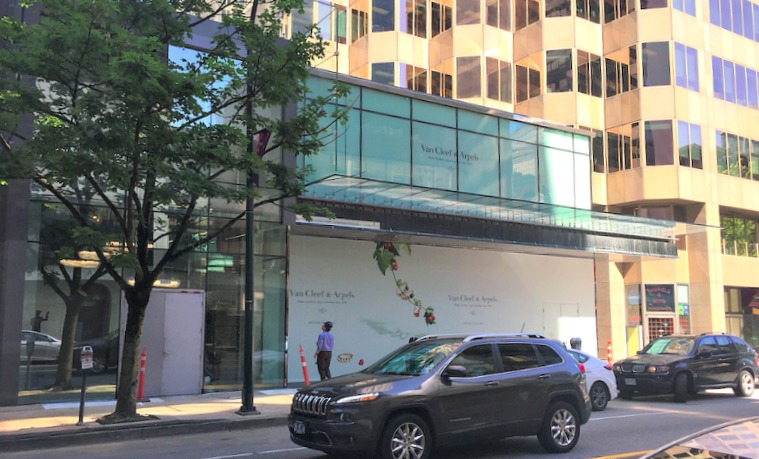 (1069 Alberni Street in vancouver -- signage is already up for van cleef & arpels, as of june 27, 2017)