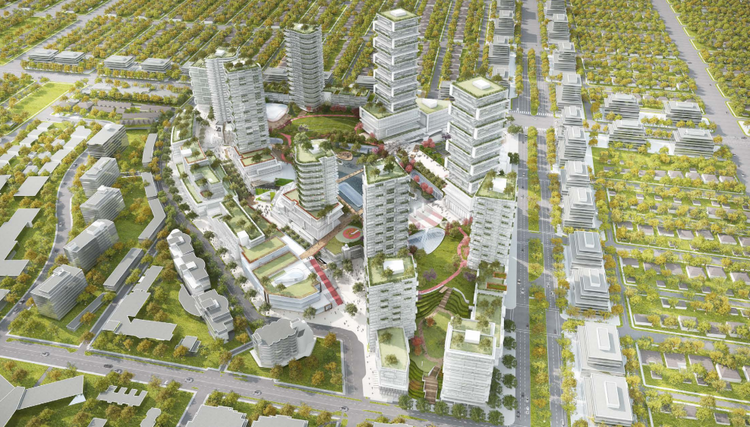 (2014 VANCOUVER OAKRIDGE CENTRE INTENSIFICATION PROPOSAL. NOTE: IMAGE IS USED AS AN EXAMPLE OF A MALL INTENSIFICATION, AND DOES NOT INDICATE THAT THESE BUILDINGS WERE INTENDED FOR RENTAL HOUSING. IMAGE: CITY OF VANCOUVER/IVANHOE CAMBRIDGE/WESTBANK)