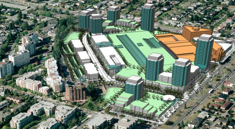 (2007 VANCOUVER OAKRIDGE CENTRE INTENSIFICATION PROPOSAL. NOTE: IMAGE IS USED AS AN EXAMPLE OF A MALL INTENSIFICATION, AND DOES NOT INDICATE THAT THESE BUILDINGS WERE INTENDED FOR RENTAL HOUSING. IMAGE: CITY OF VANCOUVER/IVANHOE CAMBRIDGE/WESTBANK)