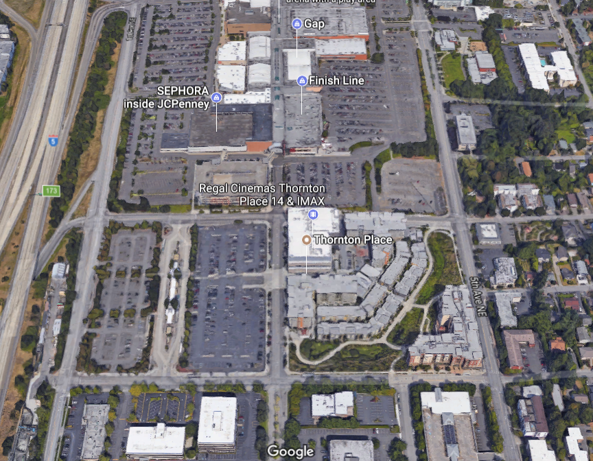 (thornton place in seattle. surplus parking at northgate mall was intensified to create a new rental community. Image: Google Maps)