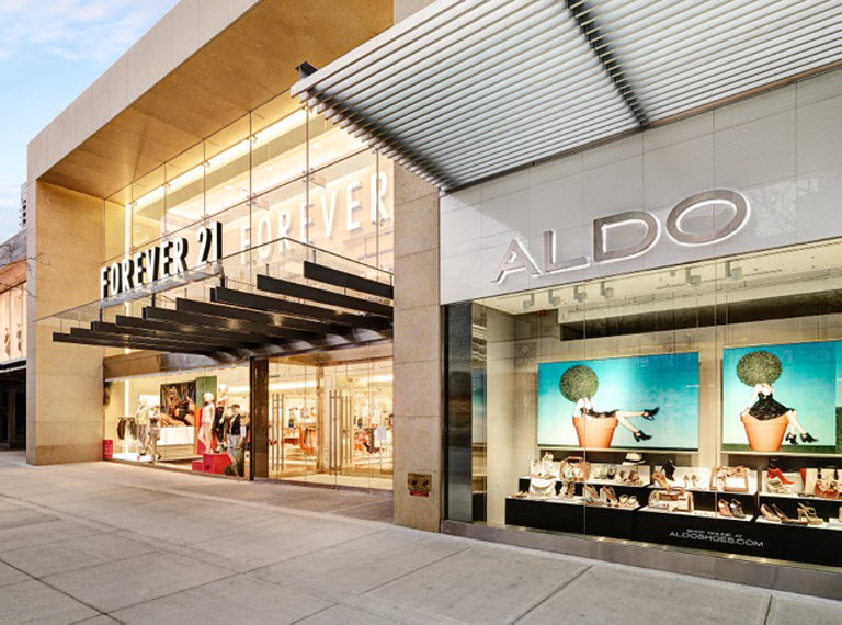 (Forever 21 and aldo on the 1000 block. Photo: Robson street bia)