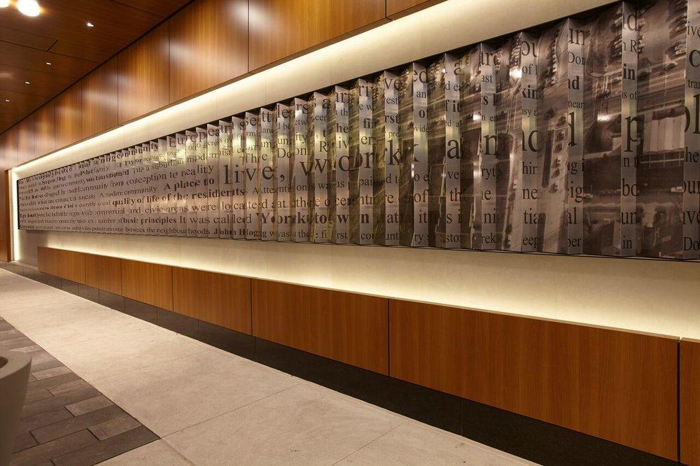 (Innovative artwork in an interior corridor)