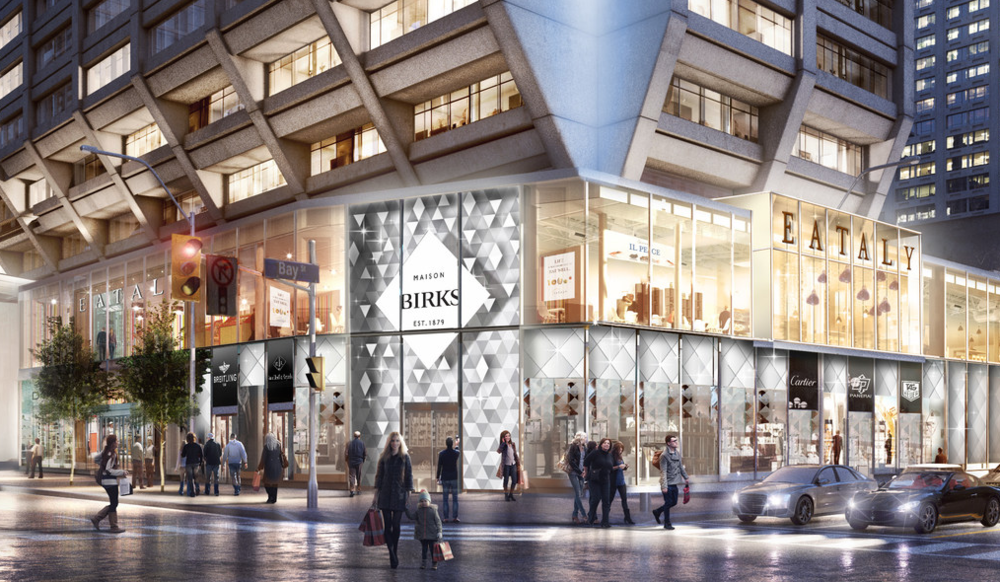 (Birks at toronto's Manulife centre will be completely redone. The one-level retail space with streetfront boutiques for Breitling and Van Cleef & Arpels, will be directly below a new Eataly. Birks will temporarily move into another retail space at manulife centre while the existing space is overhauled. Rendering: Manulife/B+H Architects)