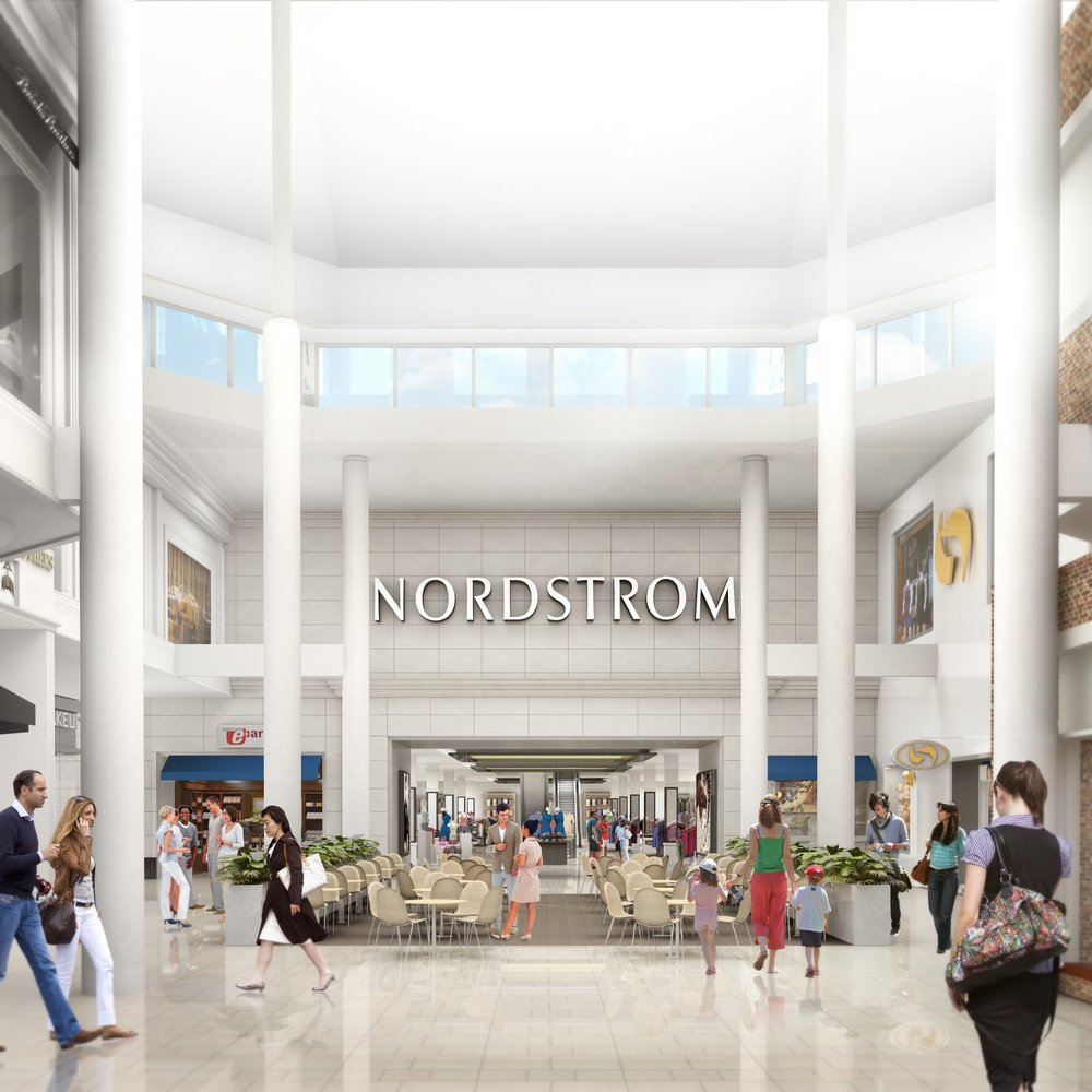 (a previous rendering of CF Sherway's nordstrom wing -- modifications have since been made, including ebar relocating to the other side of nordstrom's entrance. Rendering via Cadillac Fairview)