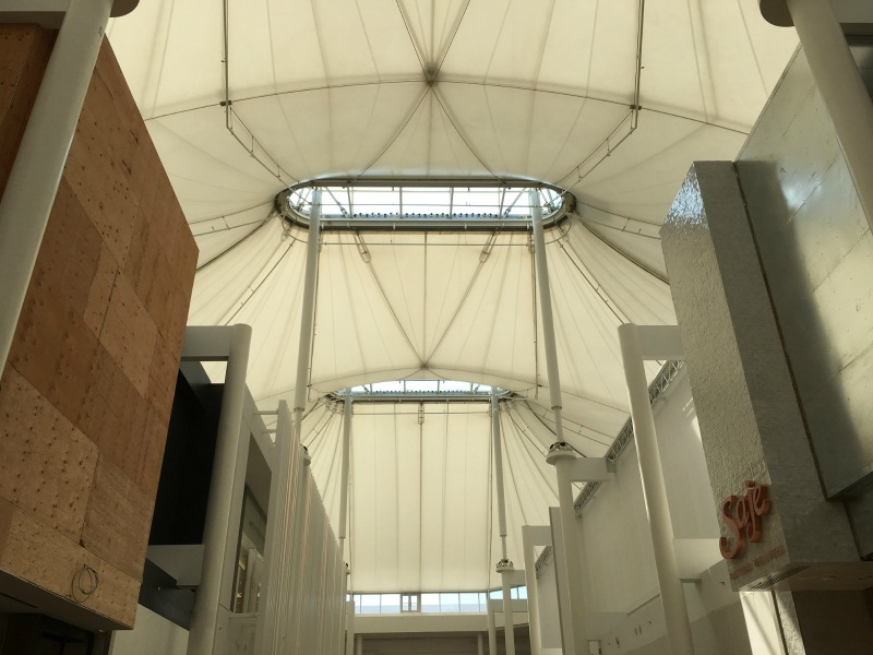 (CF Sherway's iconic white tent roof structure, designed by Eb Zeidler, has been restored)