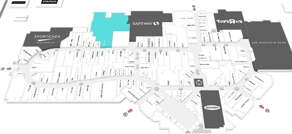 (CF market mall, with Sporting Life highlighted in blue. Click for an interactive cf market mall floor plan)