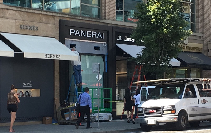 (Panerai will be located next to hermes, which currently occupies the corner space at 755 Burrard Street. Photo: Lee Rivett)