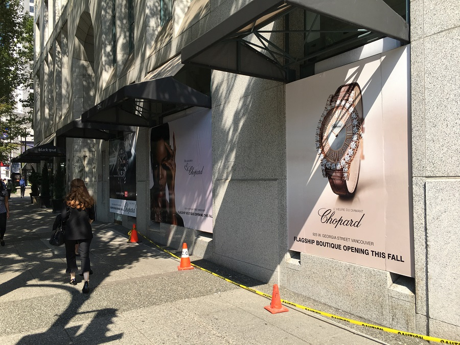 (Vancouver's 1st Chopard boutique will open this fall at 925 W. Georgia Street, replacing a gwc watch boutique. Photo: Lee Rivett)
