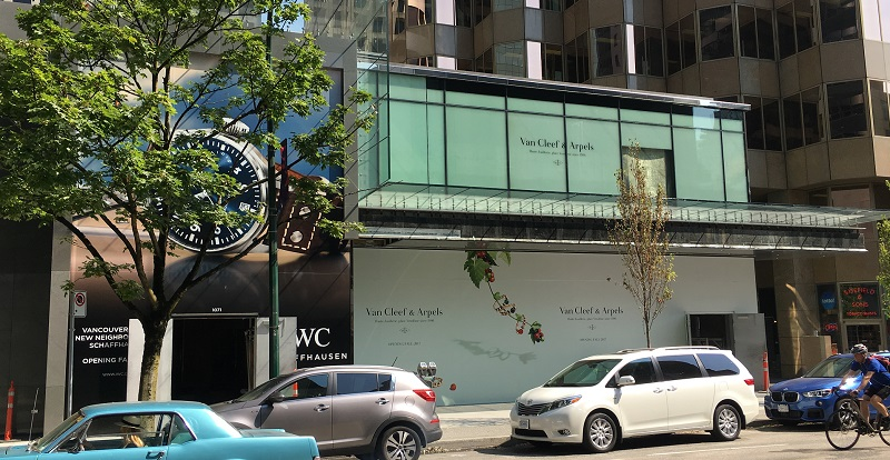 (Construction signage for IWC and Van Cleef & Arpels. Photo: Lee Rivett)