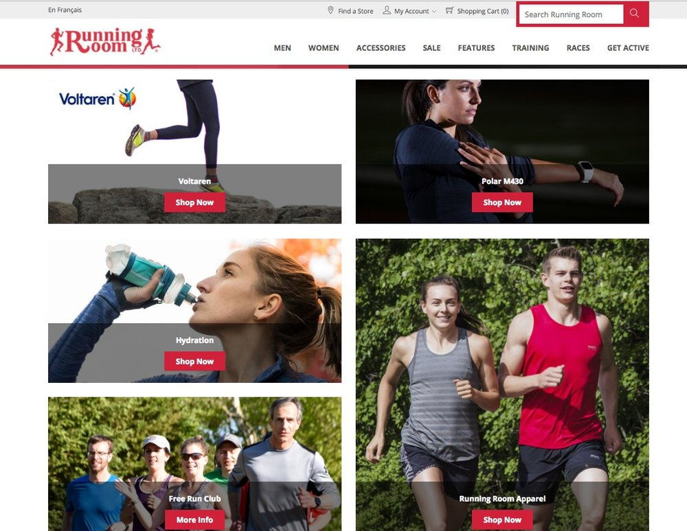 (Screen shot of Running room's ecommerce site)