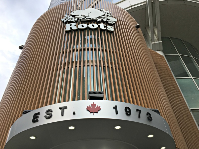 (Exterior entrance to Roots store)