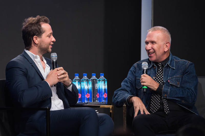 (Jean Paul Gaultier and Derek Blasberg. Photo Rock-It promo/fiji water)