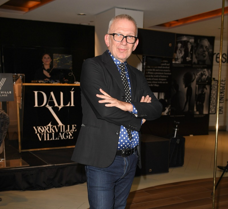 (Designer Jean Paul Gaultier at the opening of the dali exhibit at Yorkville village on September 6. Photo via aSC Public Relations)