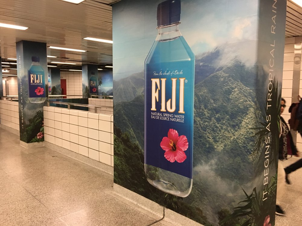(Fiji water advertising at Bay TTC station, located in the heart of Yorkville)