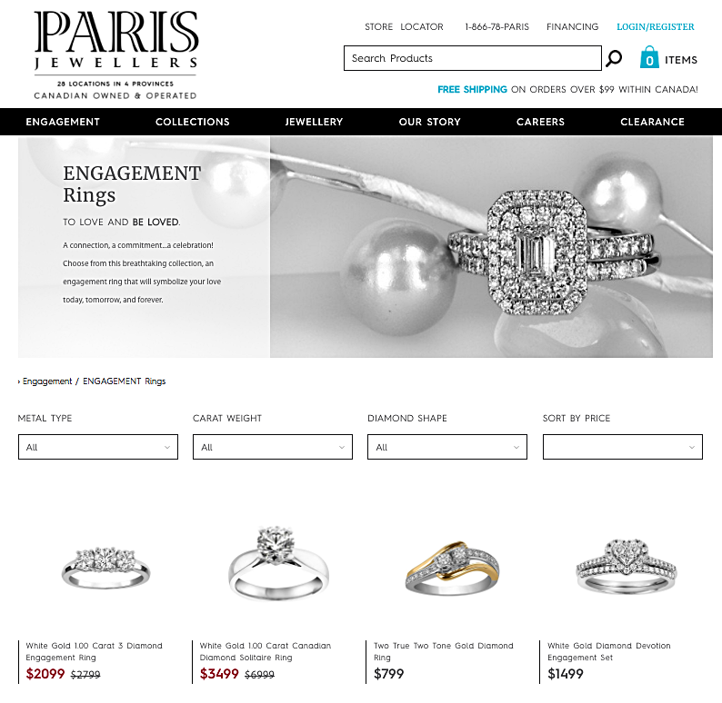 (screen shot from Paris Jewellers website)