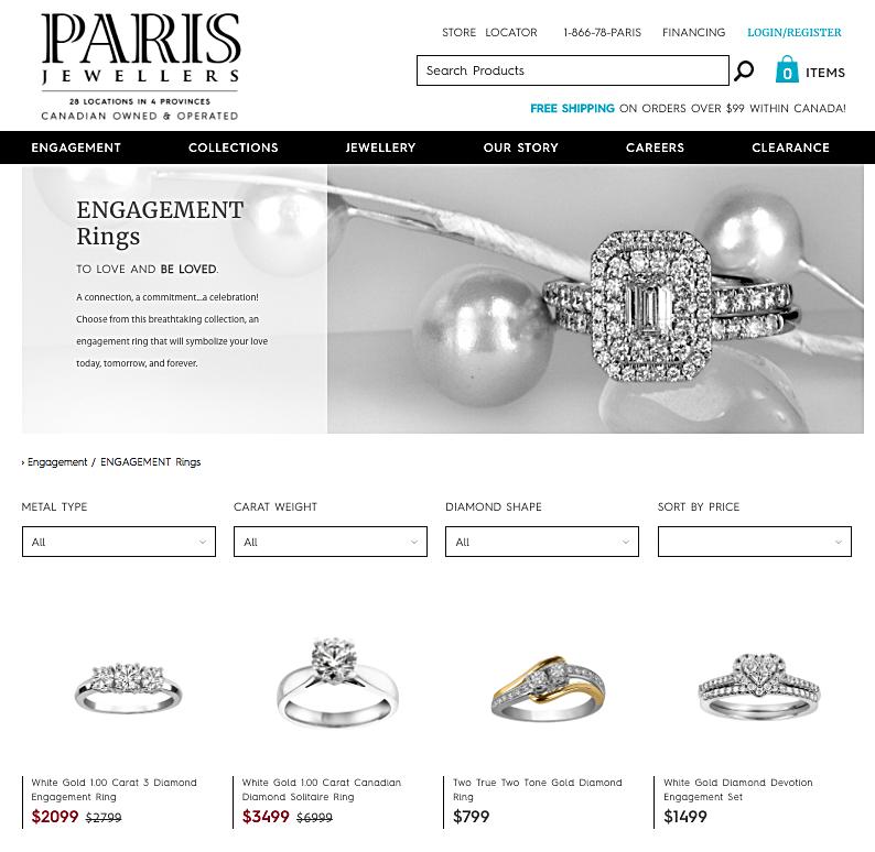 (screen shot from Paris Jewellers website)