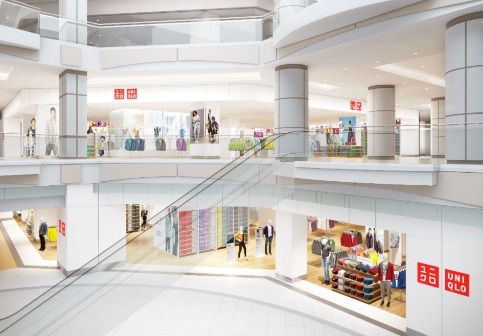 (Uniqlo opens its 1st vancouver store at Metropolis at Metrotown on October 6. Muji opened in the same mall earlier this month. Rendering: Uniqlo)