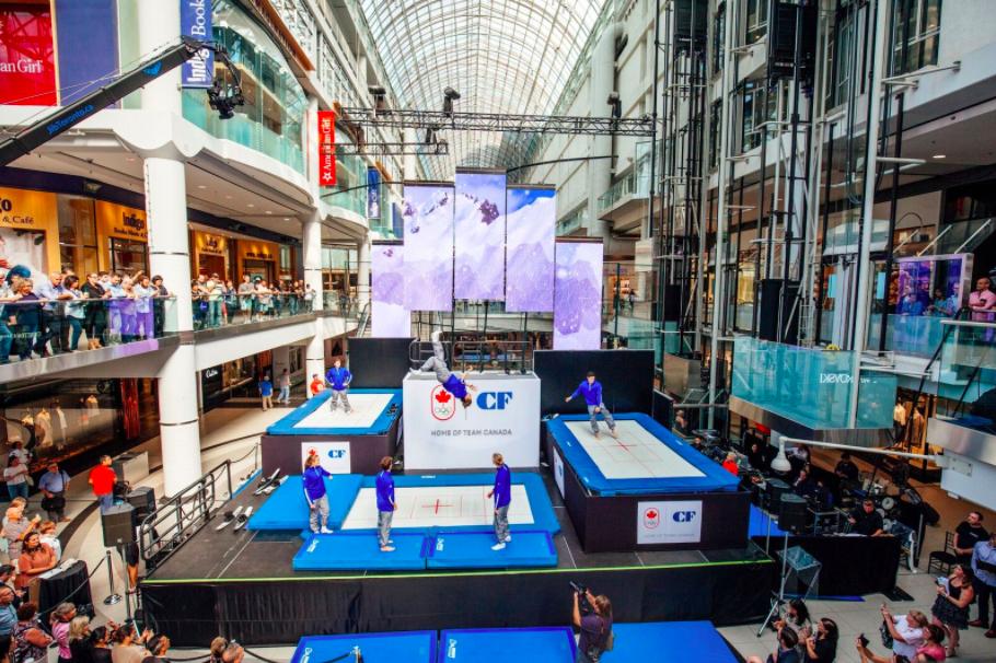 (Acrobatics at the announcement this week at CF toronto Eaton Centre. Photo:Bettina Bogar)