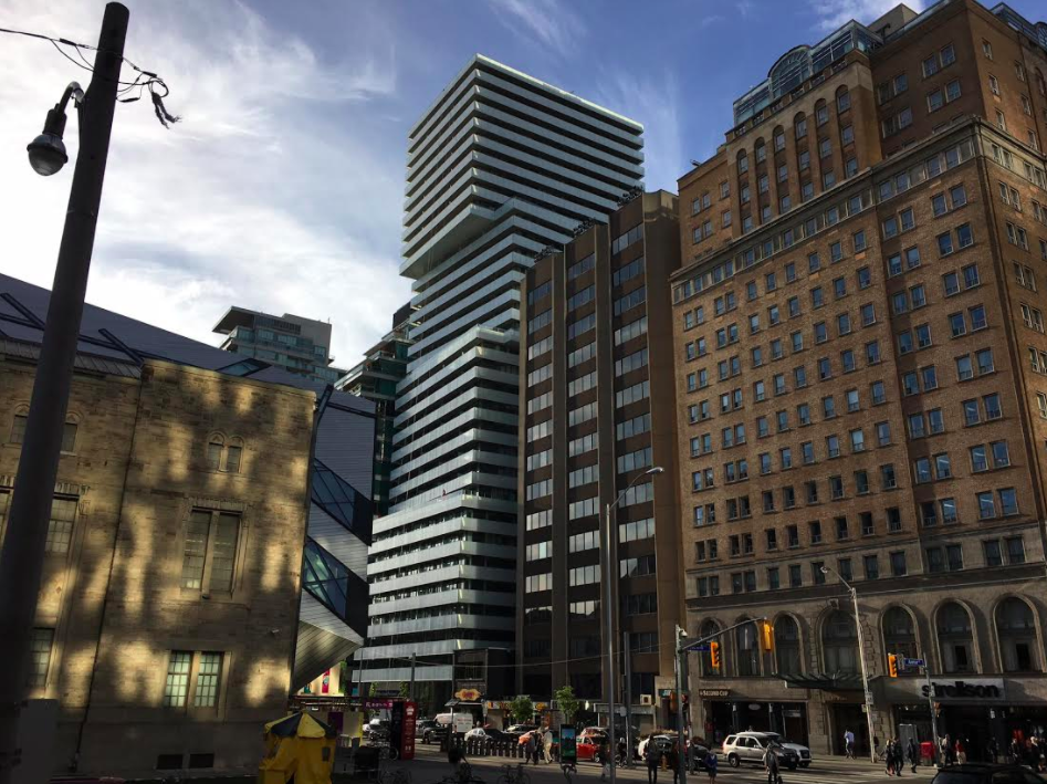 (Retail space is at the base of the new 'Exhibit Residences' -- the white tower at the centre of this tower. Park Hyatt Hotel is to the far right)